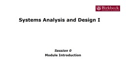 Systems Analysis and Design I