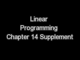 Linear Programming Chapter 14 Supplement