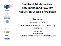 Small  and Medium Scale Enterprises and Poverty