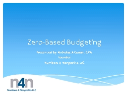 Zero-Based Budgeting Presented by Nicholas A Curran, CPA