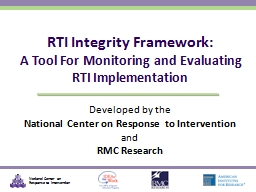 Developed by the National Center on Response to Intervention