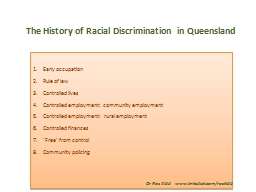 The History of Racial Discrimination in Queensland PowerPoint PPT Presentation