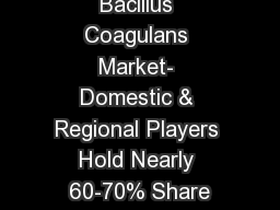 Bacillus Coagulans Market- Domestic & Regional Players Hold Nearly 60-70% Share