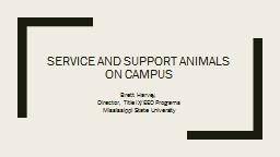 Service and Support Animals on Campus