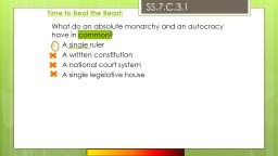 Time to Beat the Beast: What do an absolute monarchy and an autocracy have in common?