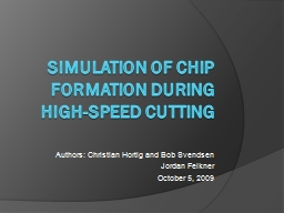 Simulation of chip formation during high-speed cutting