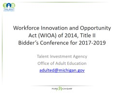 Workforce Innovation and Opportunity Act (WIOA) of 2014, Title