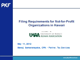 Filing Requirements for Not-for-Profit Organizations in Hawaii