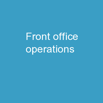 Front Office Operations