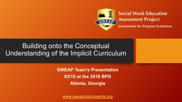 Building onto the Conceptual Understanding of the Implicit Curriculum