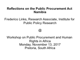 Reflections on the Public Procurement Act Namibia