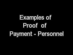 Examples of Proof  of  Payment - Personnel