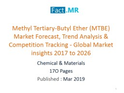 Methyl Tertiary-Butyl Ether (MTBE)  Growth Rate -Global Market Insight 2017-2026