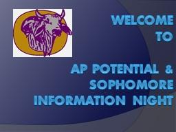 WELCOME  TO AP POTENTIAL & SOPHOMORE INFORMATION NIGHT