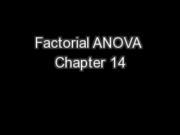 Factorial ANOVA Chapter 14