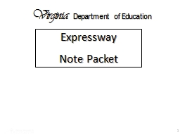 1 Expressway  Note Packet