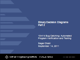 Binary Decision  Diagrams Part 2
