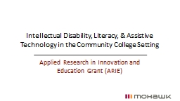 Intellectual Disability, Literacy, & Assistive Technology in the Community College