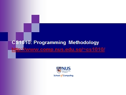 CS1010: Programming Methodology