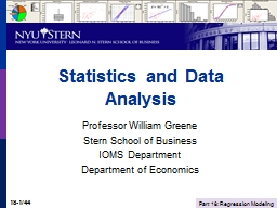 Statistics and Data Analysis