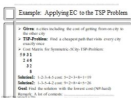 Example: Applying EC to the TSP Problem