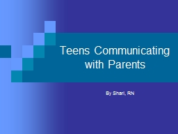 Teens Communicating  with Parents
