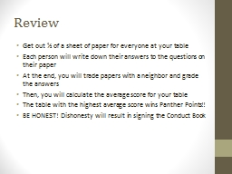 Review Get out � of a sheet of paper for everyone at your table
