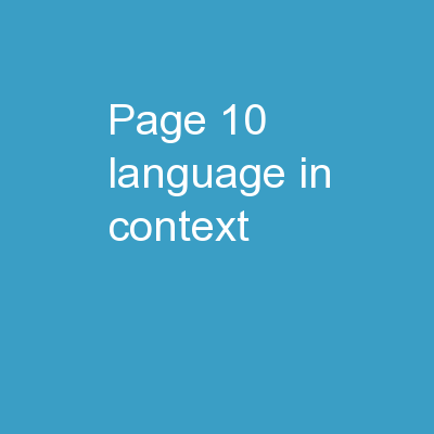 Page 10 Language in Context