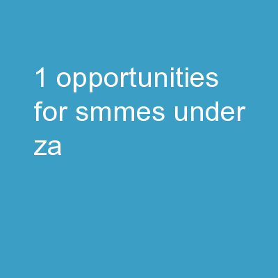 1 Opportunities For SMMEs Under .ZA