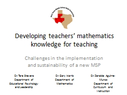 Developing teachers' mathematics knowledge for teaching