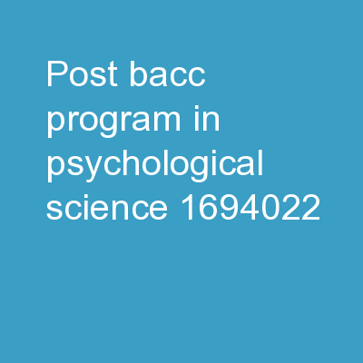 Post- Bacc   program in Psychological Science