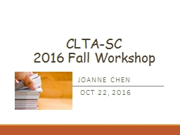 CLTA-SC   2016 Fall Workshop