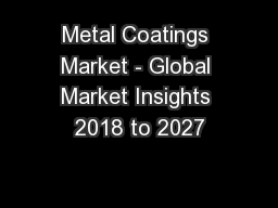 Metal Coatings Market - Global Market Insights 2018 to 2027