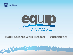 EQuIP Student Work  Protocol