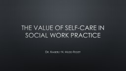 The Value of Self-care in social Work Practice