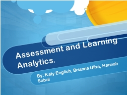 Assessment and Learning Analytics.