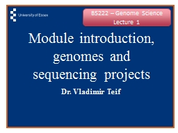 Module introduction, genomes and sequencing projects
