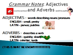 Grammar Notes : Adjectives
