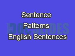 Sentence Patterns English Sentences