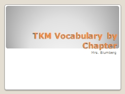 TKM Vocabulary by Chapter
