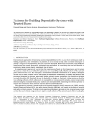 Patterns for Building Dependable Systems with Trusted