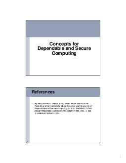 Concepts for Dependable and Secure Computing Reference