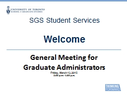 SGS Student Services Welcome