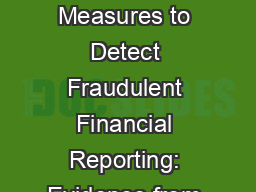 Use of Non-financial Measures to Detect Fraudulent Financial Reporting: Evidence from Recent Resear
