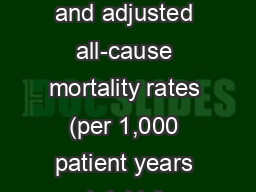 Table 3.1  Unadjusted and adjusted all-cause mortality rates (per 1,000 patient years at risk) for