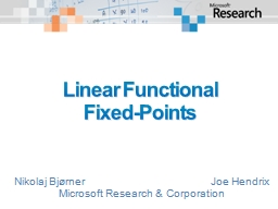 Linear Functional  Fixed-Points