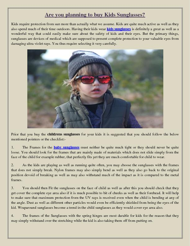 Are you planning to buy Kids Sunglasses?