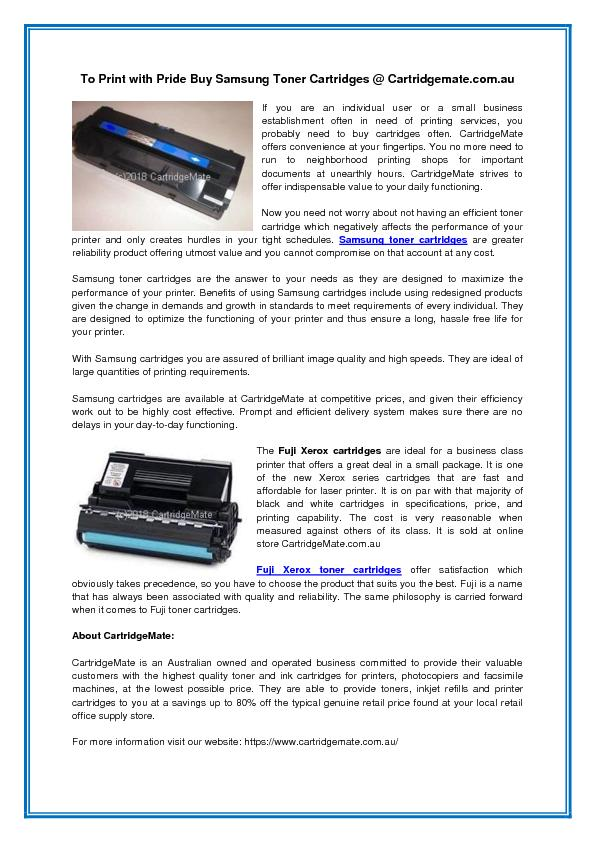 To Print with Pride Buy Samsung Toner Cartridges @ Cartridgemate.com.au