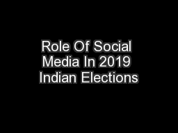Role Of Social Media In 2019 Indian Elections