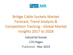 Bridge Cable Sockets Market Competition Tracking - Key Market Insights 2017 to 2028